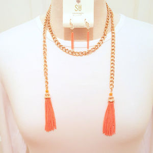 Wrap Around Orange MetallicTassel Necklace Set